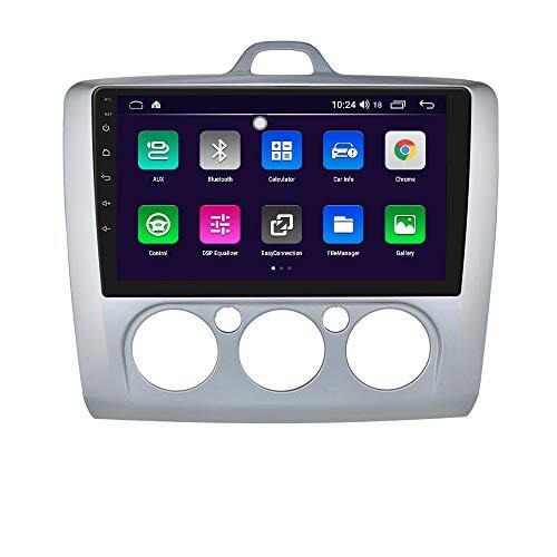 Android 10 Autoradio-Stereoanlage mit 9-Zoll-Touchscreen-System für Ford Focus Exi MT 2 3 Mk2 / Mk3 2004-2011, unterstützt GPS-Navigation SWC Mirror Link WiFi EQ USB Bluetooth (Silber)