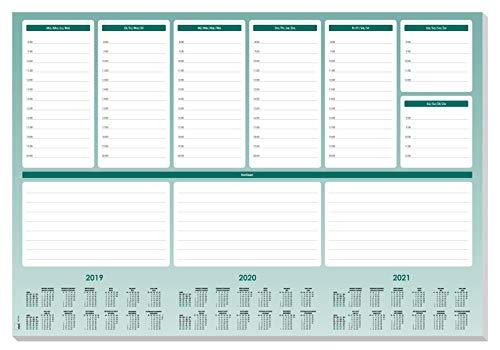 SIGEL HO500 Sottomano da scrivania di carta, con calendario 3 anni, Weekly Planner Maxi, A2 (59,5 x 41 cm), 52 fg.