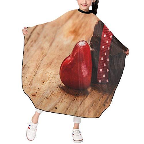 HHJJI Kinderschokolade mit Band und Herz auf St. Valentinstag Liebe. Haarschnitt Schürze Coole Haarschnitt Friseur Cape Cover wasserdicht für Haarschnitt Styling Smock Cover Stoff