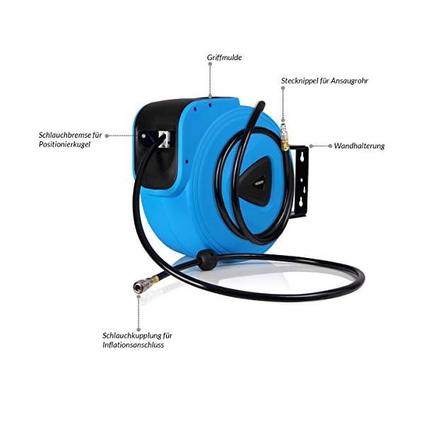 Deuba Enrollador de aire comprimido con manguera de 20m con soporte mural carrete automático y flexible jardín