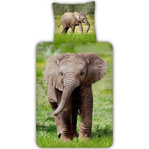 ESPiCO Trendy Bedding Bettwäsche Elefant Babyelefant Rüssel Bunt Safari Afrika Wildtier Tiermotiv Renforcé, Größe:135 cm x 200 cm