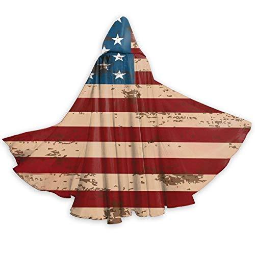 Red Vintage Amerika Flagge Winddicht Wizard Roben Premium Cosplay Mantel Lange Kostüm Robe Mantel Für Make-Up Parteien Karneval Kostüme