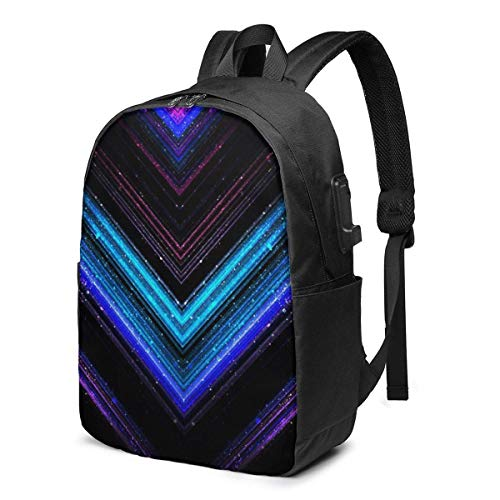 Hdadwy Sparkly Metallic Blue and Purple Galaxy Chevron Lines USB School Backpack Large Capacity Canvas Satchel Casual Travel Daypack for Adult Teen Women Men 17in