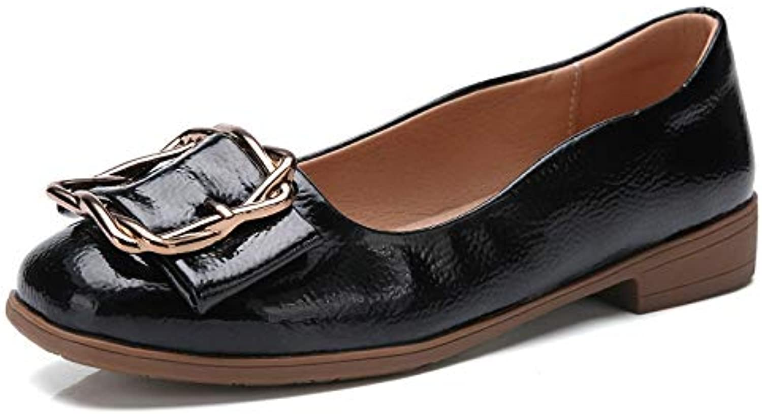 GzPuluz Fashion Sneakers Versatile Comfortable Metal Buckle Shallow Mouth PU Casual shoes for Women