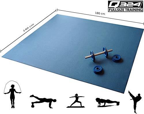 Q324 Active - 180x140 – rutschfeste, extra große Fitnessmatte für Zuhause - extra breite Yogamatte in blau - XXL Premium Sportmatte für Pilates, Yoga, Homeworkout und mehr - Rollbare Gymnastikmatte