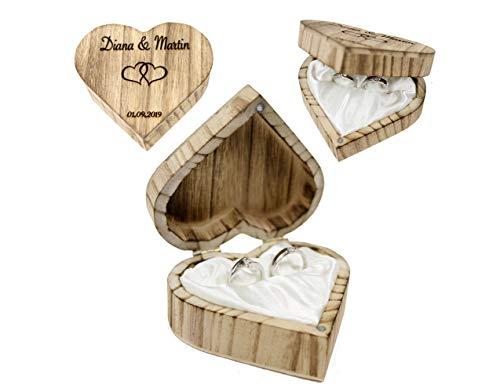Ringschachtel HOCHZEIT Ringschatulle RINGSCHALE personalisiert Ringnest Ringbox Ringkissen Eheringe Trauung Holzschatulle Baumscheibe WILMA