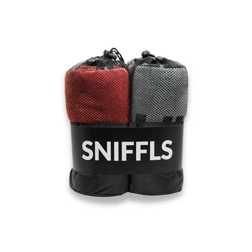 Sniffls® Premium Hundehandtuch (2er-Pack, Weich u. Waschbar) Extra saugfähig und schnell trocknendes Mikrofaser Handtuch für kleine und große Hunde - Perfektes Hundezubehör mit praktischer Tasche