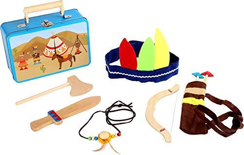 small foot 3922 Kinderkoffer Indianer-Set, mit Axt, Messer, Pfeil, Bogen, Kopfbedeckung und Indianerkette, ab 3 Jahre