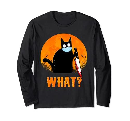 Camisa de Halloween de gato negro Qué divertido cuchillo de gato negro aterrador Manga Larga