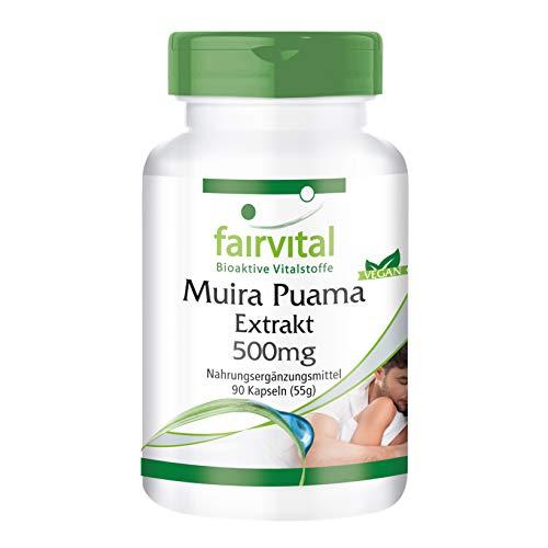 Muira Puama 500mg - HOCHDOSIERT - Potenzholz 10:1 Extrakt - VEGAN - 90 Kapseln