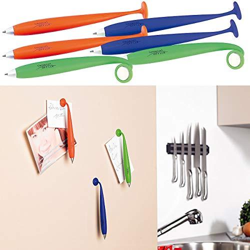 General Office Druckkugelschreiber: 6er-Set Kugelschreiber mit Silikonhülle und Magnet (Lustige Kugelschreiber)