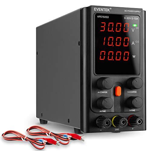 Fuentes de Alimentación Regulables, eventek Ajustable Fuente de alimentación 30V 10A de Regulada con Pantalla LED de 4 dígitos, Cable de Cocodrilo/líneas de Prueba