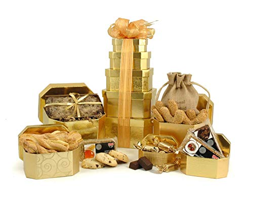 Cookies & Cake Hamper Tower - 5-Tier Gift Tower - Reusable Golden Gift Boxes Packed with Treats & Hand Tied with Ribbon