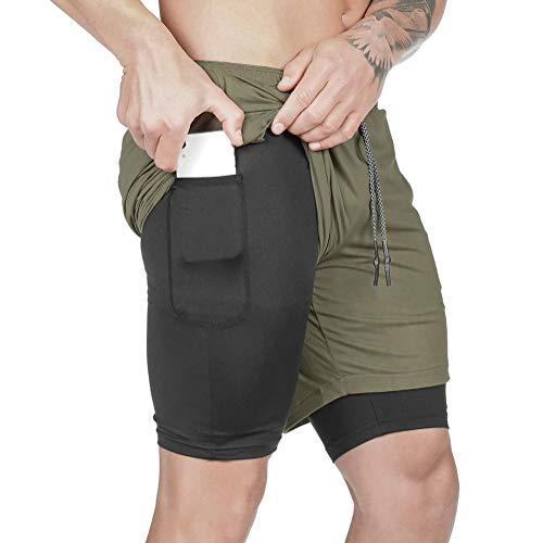 JIAYANLH Pantalón Corto para Hombre, Pantalónes Cortos de Running 2-en-1 Hombres Secado rápido Transpirable Atletismo Fitness (Green,XXXL)
