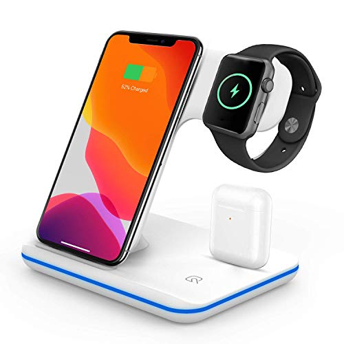 VESSTT Cargador inalámbrico, Cargador inalámbrico rápido Tres en uno, para iPhone 11/11 Pro MAX/X/XS MAX/Apple Watch Series 1/2/3/4/5 Airpods 2, Samsung Galaxy S20, Xiaomi 10 Pro etc (Blanco)