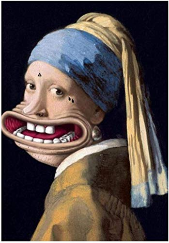DOLUDO Canvas Artwork Painting 23.6'x35.4' No Frame Big Mouth Girl with Pearl Earring Funny Animal Art Painting Posters and Prints Picture for Living Room Decoration