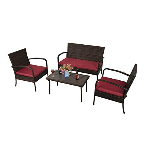 Feelway Outdoor 4 Pcs Patio Wicker Furniture Sectional Rattan Sofa Bistro Set with Two Chairs Table Loveseat Cushioned