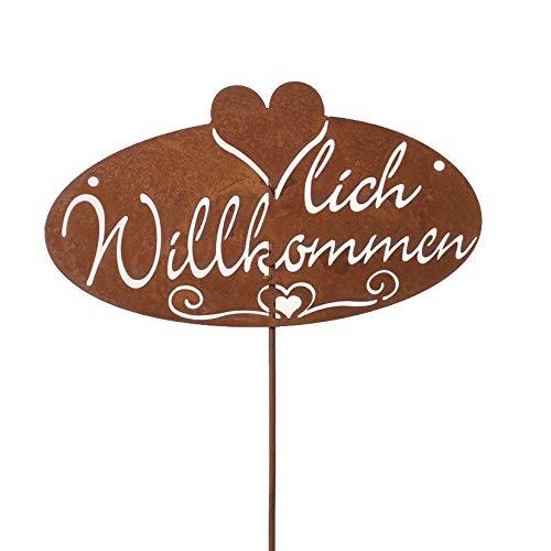 Metall Stecker. HERZLICH WILLKOMMEN. Rost Gartenstecker, Metallstecker, Dekostecker. 72 cm. Art.: 68979