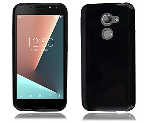 PIXFAB Vodafone Smart N8VFD 610Neu mit schwarz-weiß-Gel-Silikon-Gummi-Hülle + Bildschirmschutzfolie für Vodafone Smart N8VFD 610, Gel, Black Gel, Vodafone Smart N8 VFD 610