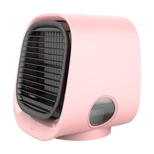 Tivivose Aire Cooler Fan Mini Desktop Air Acondicionador de Aire con luz Nocturna Mini USB Agua Agua Ventilador Humidificador Purificador Multifunción Verano (Color : Pink)