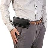 Für iPhone 8 Fall Lammfell Elastic Band-Männer 4,8-Zoll-Handy Universal-hängend Taille Ledertasche mit Karten-Slot, for iPhone 07.08 / Redmi 3X und andere 4,8-Zoll-Handys (schwarz) Asun