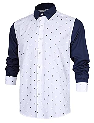 Men Casual Slim Fit Contrast Collar Funny Skull Print Long Sleeve Button Down Shirt
