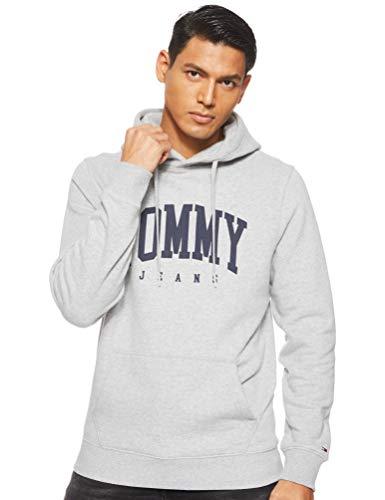 Tommy Jeans Herren TJM ESSENTIAL TOMMY HOODIE Pullover, Grau (Lt Grey Htr 038), Large (Herstellergröße:L)