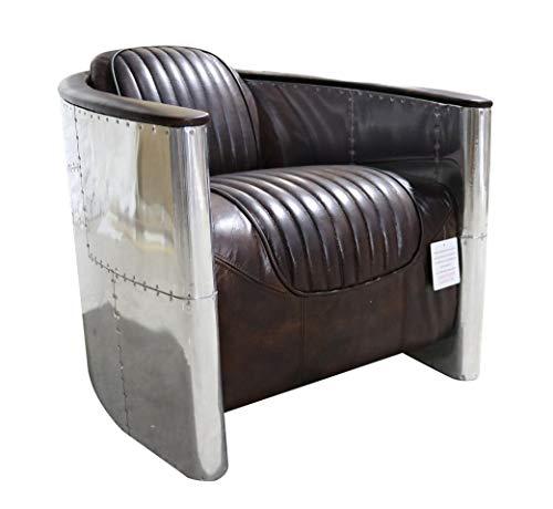 Aviator - Sedia pilota vintage in alluminio anticato marrone tabacco