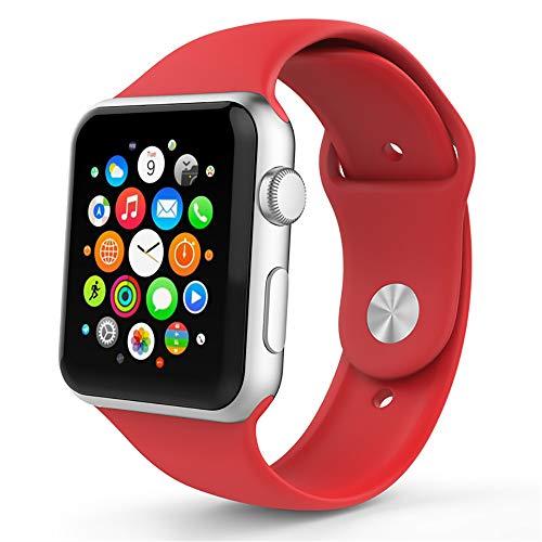 Correa De Reloj De Silicona Deportiva Compatible Iwatch 38 / 40MM 42 / 44MM para Apple Watch 1 2 3 4 5,Rojo,42/44mm