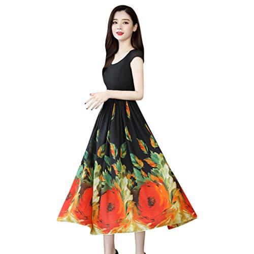 AMhomely Women Dresses Promotion Sale Clearance Fashion Casual Ladies V-Neck Short Sleeve Long Dress Floral Printed Slim Dress Plus Size Dress Party Elegant Dress for Weddings Guest Retro Dress UK