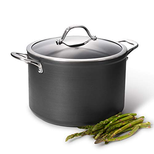 Picture of ProCook Professional Anodised Non-Stick Stock Pot with Lid - 20cm / 4.4L - Induction Pan for Simmering and Reducing Soups, Stews and More - Oven Proof - Dishwasher Safe