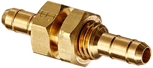 Parker Hannifin 22BH-4-4 Dubl-Barb Brass Body Bulkhead Union Fitting, 1/4