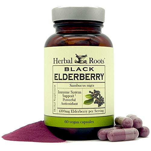 Mortar and Pestle Herbs- Black Elderberry Capsules - Extra Strength 4,300 mg - Made with Organic Elderberries Sambucus Negras - Immune Support - Vegan and Non-GMO - Made in the USA