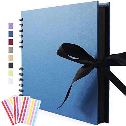 Vienrose Scrapbook Photo Album DIY Scrap Book Black Pages for Wedding Guest Book...