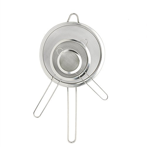 Set of 3 Stainless Steel Kitchen Mesh Strainers