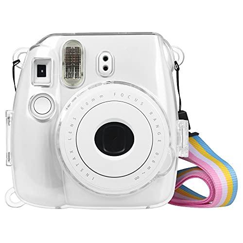 FINTIE Funda para Fujifilm Instax Mini 9/Mini 8+/Mini 8 - Bolsa Protectora Transparente de Colores para Cámara Instantánea PVC Duro con Correa Desmontable, Cristal Claro