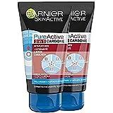 Garnier Skinactive Pureactive Gel Limpiador y Exfoliante Facial Carbón 3 en 1-150 ml
