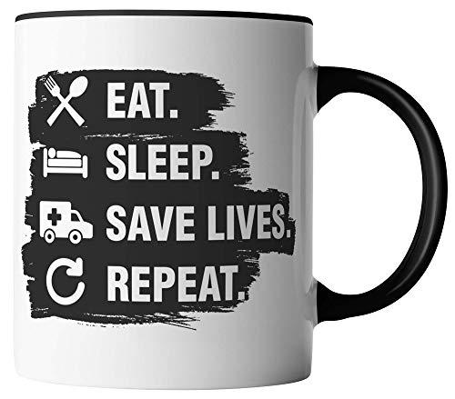 Rettungsdienst Tasse - Eat Sleep Save Lives Repeat - Geschenk für Sanitäter Paramedic - beidseitig Bedruckt - Geschenk Idee Kaffeetassen mit Spruch, Tassenfarbe:Weiß/Schwarz