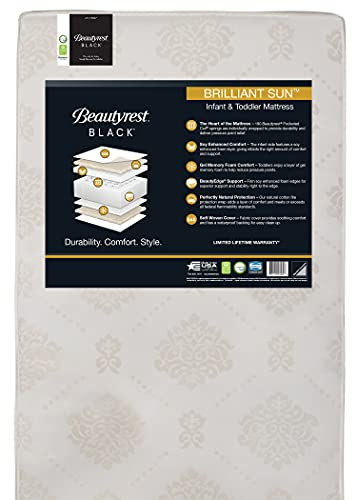 Beautyrest Beginnings Black Brilliant Sun 2-Stage Premium Crib and Toddler Mattress with Plant-Based Soy Foam and Gel Memory Foam - GREENGUARD Gold Certified - Trusted - Made in USA