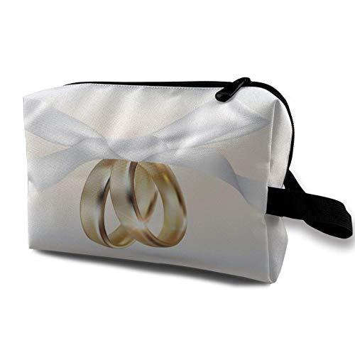Hdadwy Mehrzweck Travel Organizer wasserdichte Make-up-Tasche Goldene Eheringe mit Ribbonraster-Version Toilettenartikel Kosmetik Aufbewahrungstasche für Frauen Mädchen Geldbörse