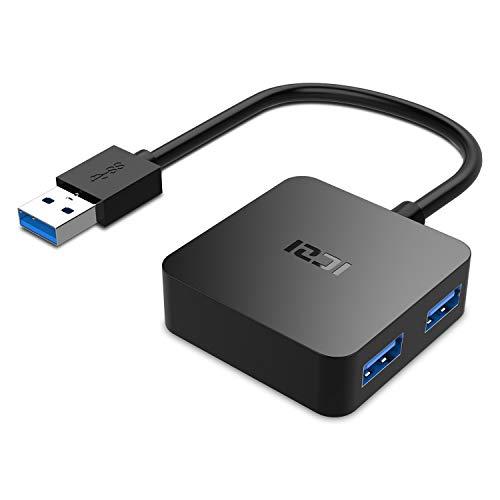 ICZI Hub USB 3.0, 4 Porte Ultra Mini Hub USB 3.0 per Trasmissione Dati Alta velocità 5 Gbps e Sincronizzazione per Ultrabook Portatile Tablet PC Compatibili Windows XP Vista 7 8 10 e Altro