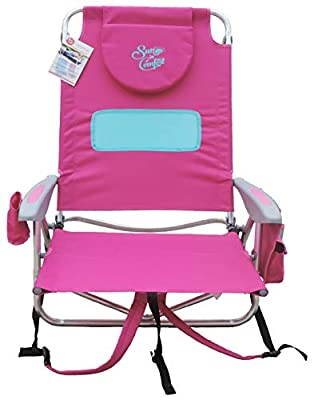 Sun in Comfort | Hootie Hammock Deluxe 5-Position Beach Backpack Chair | Beach Chair for Women | Paradise Pink Portable Chair The Prefect Lawn Chairs for Adults