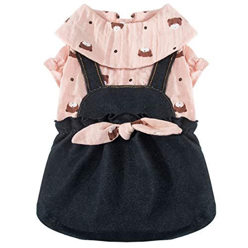 COLOGOペット服 かわいい ドレス デニム 小型犬 中型犬 ドッグウェア ワンピース 秋冬 ファッション スカート 人気 犬洋服(ピンク、M)