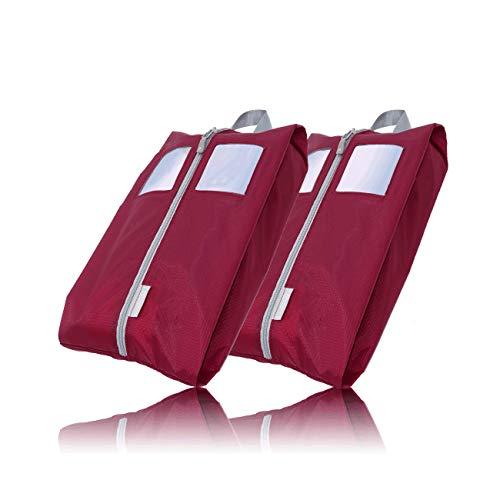 TRAVEL DUDE Schuhtaschen 2er Set | weinrot | mit transparentem Fenster | wasserabweisend, Ultraleicht & staubdicht | Schuhbeutel für kleine & große Schuhgrößen | zum Aufbewahren im Koffer
