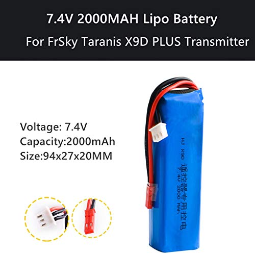 Novania 7.4V 2000mAh Lithium Battery Compatible with FrSky Taranis X9D Plus Remote Control Transmitter, RC Car Truck Airplane Helicopter Boat Hobby Remote & App Controlled Vehicle LiPo Batteries