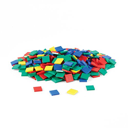 hand2mind Plastic Square Assorted Color Tiles for Counting Set of 400