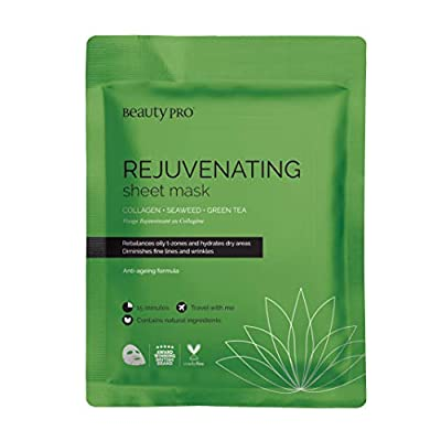 BeautyPro REJUVENATING Collagen Sheet Face Mask With Green Tea Extract (23g)   Anti-Ageing & Skin Firming from Beautypro