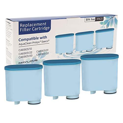 3 Stück Wasserfilter patrone für Philips und Saeco Kaffeevollautomaten, Wasserfilter zur Verhinderung von Kalkablagerungen für die automatische AquaClean KaffeeMaschine CA6903 / 10/00 / 01/22 / 47