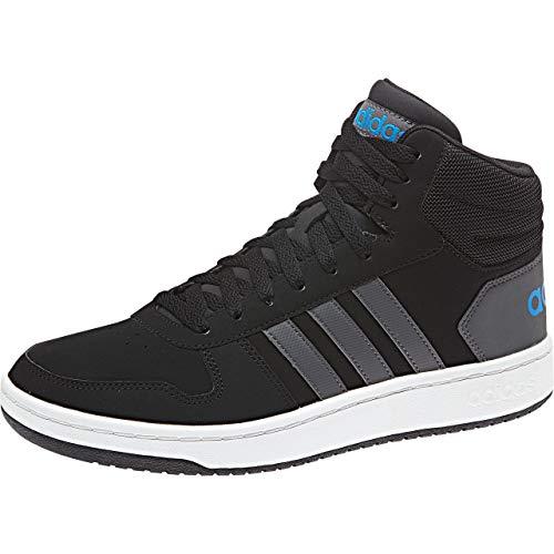 adidas Hoops 2.0 Mid Zapatos de Baloncesto Hombre, Negro (Cblack/Grefiv/Brblue Cblack/Grefiv/Brblue), 44 2/3 EU (10 UK)