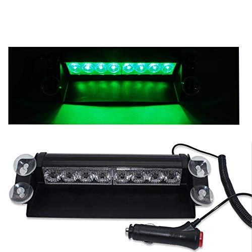 Lumières LED d'urgence voyant d'avertissement LED,12V 8 voyants de balisage d'avertissement de danger de LED pour tableau de bord/visière/pare-brise avant de véhicule avec la ventouse (Vert)